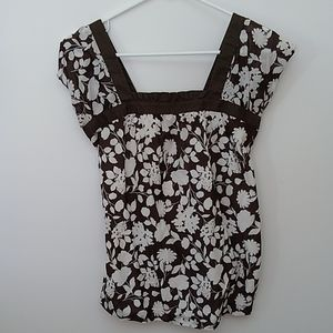 Gap Maternity Top Brown/White Floral